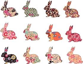 PRETYZOOM 100 Stks Bunny Knoppen Pasen Houten Konijn Knoppen 2 Gaten Dier Naaien Plaksteen Knoppen Sluiting Voor Diy Craft...