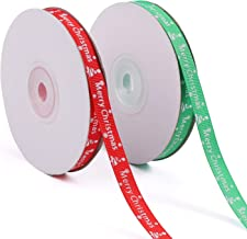 Tmflexe 50 Yards 3/8 Inch Christmas Ribbon Wrapping Printed Grosgrain Ribbon for Christmas Party Gift Wrapping Crafts Deco...