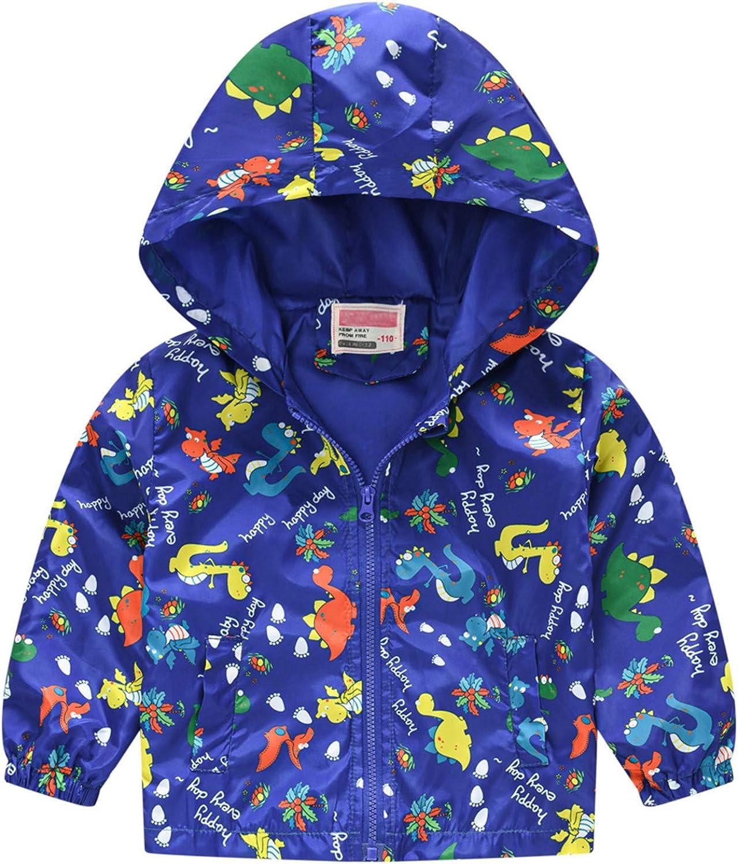 Cartoon Dinosaur Print Hooded Jacket Indianapolis Mall Long Toddler Sl Girls Boys free
