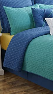 Fiesta Dash Reversible Quilt Set - Twin - Lapis Blue Turquoise Blue - with Euro Sham
