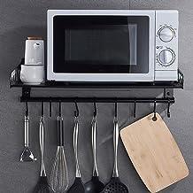 Microondas digitales horno Organizador del almacenaje de la cocina rack Estable montado en la pared del horno microondas antideslizante for una instalación fácil acceso ponche Teniendo fuerte, 3sizes