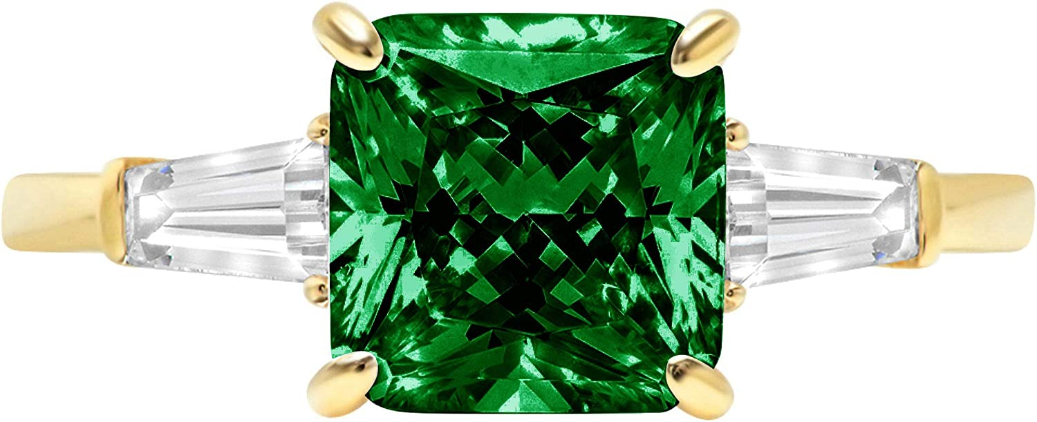 3.50ct Asscher Baguette cut 3 stone Solitaire with Accent Flawless Simulated Green Emerald Ideal VVS1 Engagement Promise Statement Anniversary Bridal Wedding Designer Ring 14k Yellow Gold