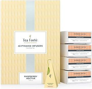 Tea Forte Raspberry Nectar Herbal Tea Event Box Bulk Pack, 48 Handcrafted Pyramid Tea Infusers