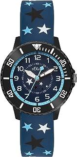 s.Oliver Time Garçon Montre pour Apprendre à Lire l'heure Quartz Bracelet en Silicone SO-3407-PQ