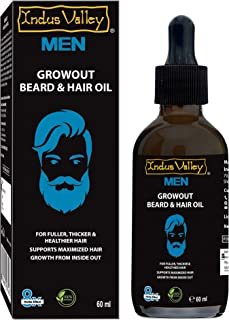 Indus Valley 100 Percent Organic men Beard Oil for smooth beard NO MINERAL OIL NO PARABENS NO ALCOHOL NON STICKY 60ML