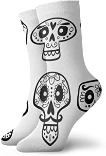 Hand Drawn Mexican Skull Collection Cute Mens Athletic Crew Socks for Men Cushion Casual Sports Workout Sock