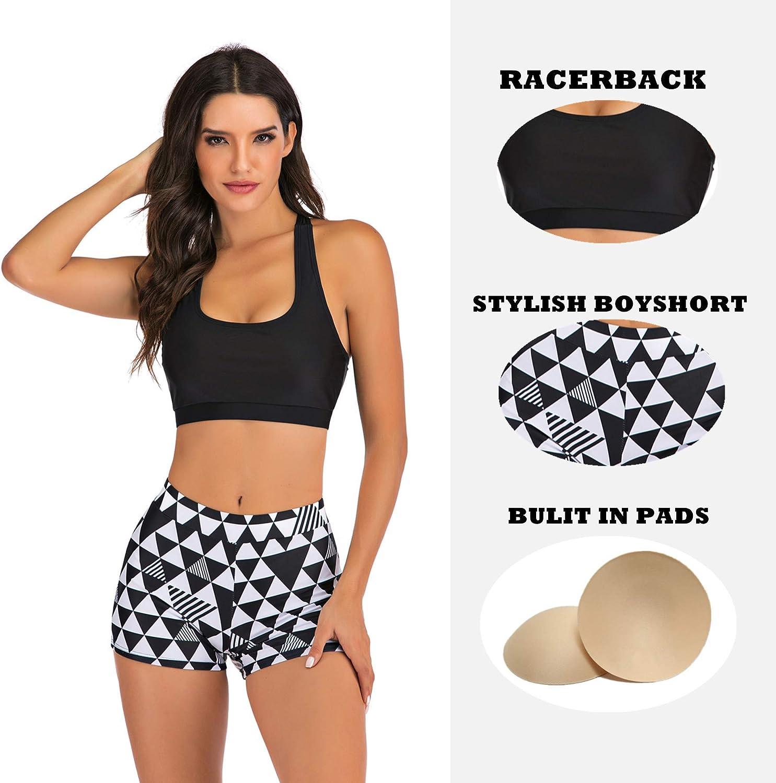 Women's Two Piece Racerback Top Swimwear with Boyshort Bathing Suit Set