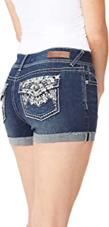WallFlower Women's Juniors Luscious Curvy Bling Embellished Back Pockets Shorty Shorts (More Colors)