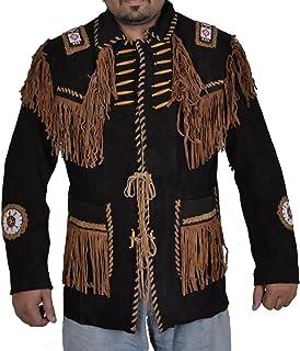coolhides Men's Indian Cowboy Suede Leather Coat Fringed & Beaded