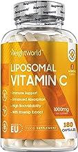 Vitamine C Liposomale 1000 mg - 180 capsules (3 mois) WeightWorld - Testé Agrolab - Avec de la Rose Musquée – Vegan – Fabriqué en EU
