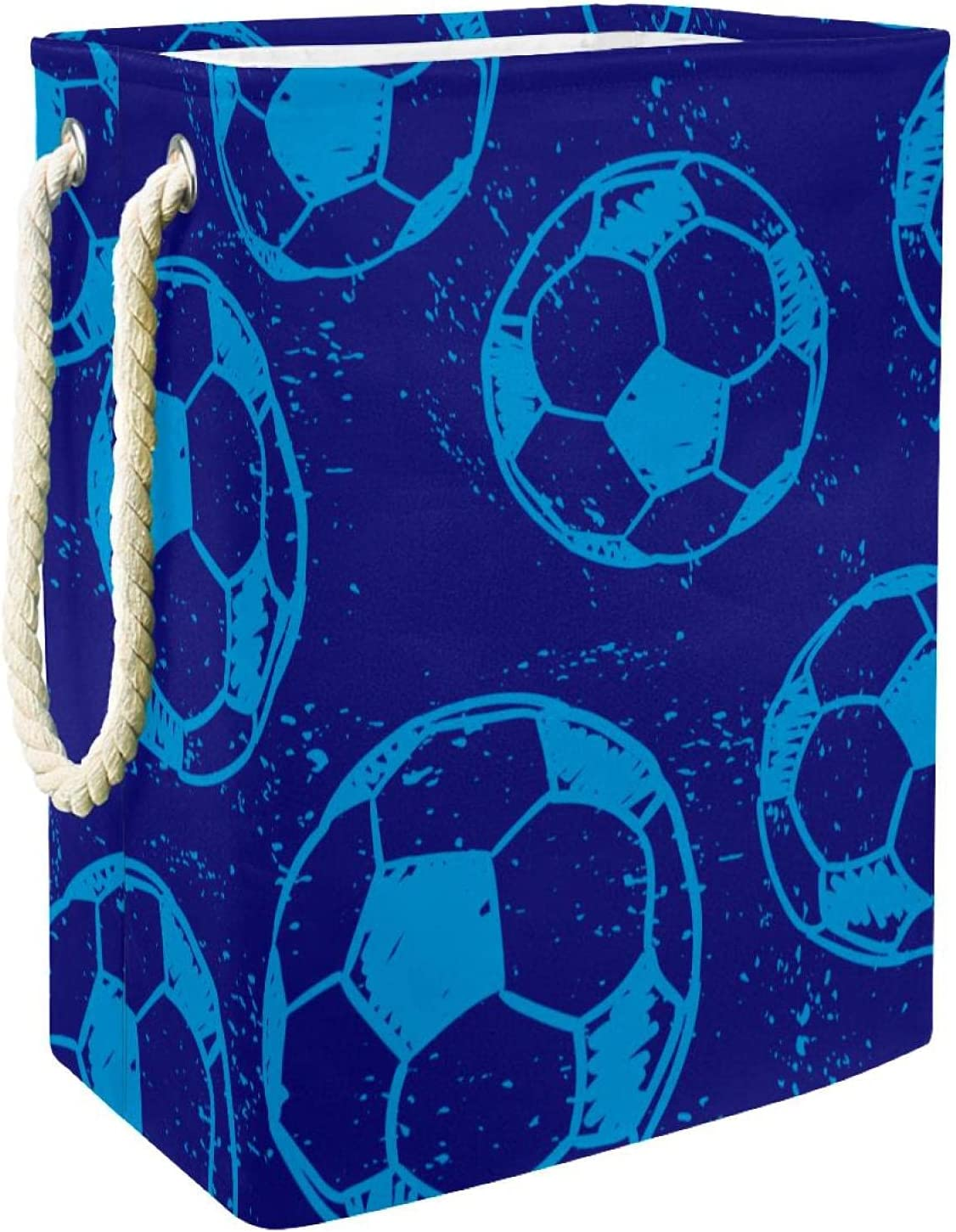 Football Soccer Blue Regular store Laundry Hamper With Large New arrival Handles Collapsib