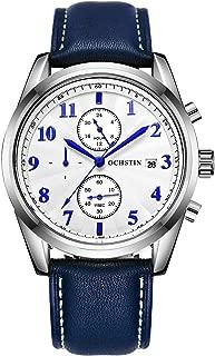 OCHSTIN Men's Chronograph Fashion Quartz Watch Leather Strap Calendar 24-Hour Military Waterproof Watch