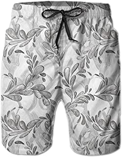 jiger Mens Beach Shorts Swim Trunks,Monochrome Line Art Style Leaves Natural Floral Pattern Sketchy Modern Design,Summer Cool Quick Dry Board Shorts Bathing SuitL