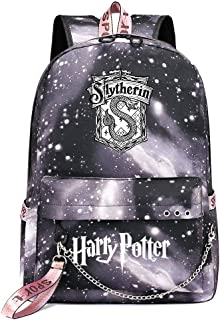 Mochila de Ocio para Estudiantes de Hogwarts, Mochila Harry Potter Grey Starry Sky, con Mochila de Interfaz de Carga USB Style-1