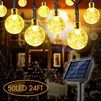 Lamantt Globe Solar String Lights,50 LED 23ft 8 Modes Waterproof String Lights ,Indoor/Outdoor Fairy Lights Globe Crystal Balls for Garden Yard Home Party Wedding Christmas Festival Decoration (23FT)