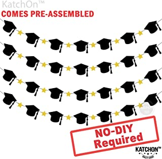 Graduation Garland with Hat and Star - Assembled - Black and Gold Graduation Party Supplies 2019 - Graduation Hat Decorations - Table, Mantle Decor Banner | No DIY Required | 4 Strands Felt Banner