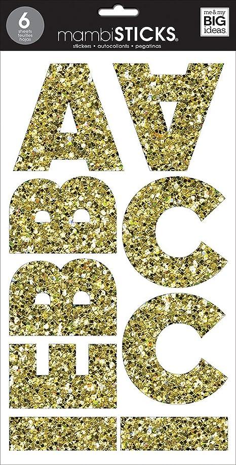 me & my BIG ideas Large Alpha Sticker, Mia Chunky, Glitter Gold