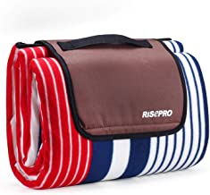 """RISEPRO Picnic Blanket Mat, Outdoor Blanket 80"""" x 80"""" with Waterproof Backing for Camping, Park, Beach, Hiking, Family"""