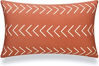 Hofdeco Mudcloth Inspired Patio Indoor Outdoor Lumbar Pillow Cover ONLY for Backyard, Couch, Sofa, Rust Orange Mudcloth In...