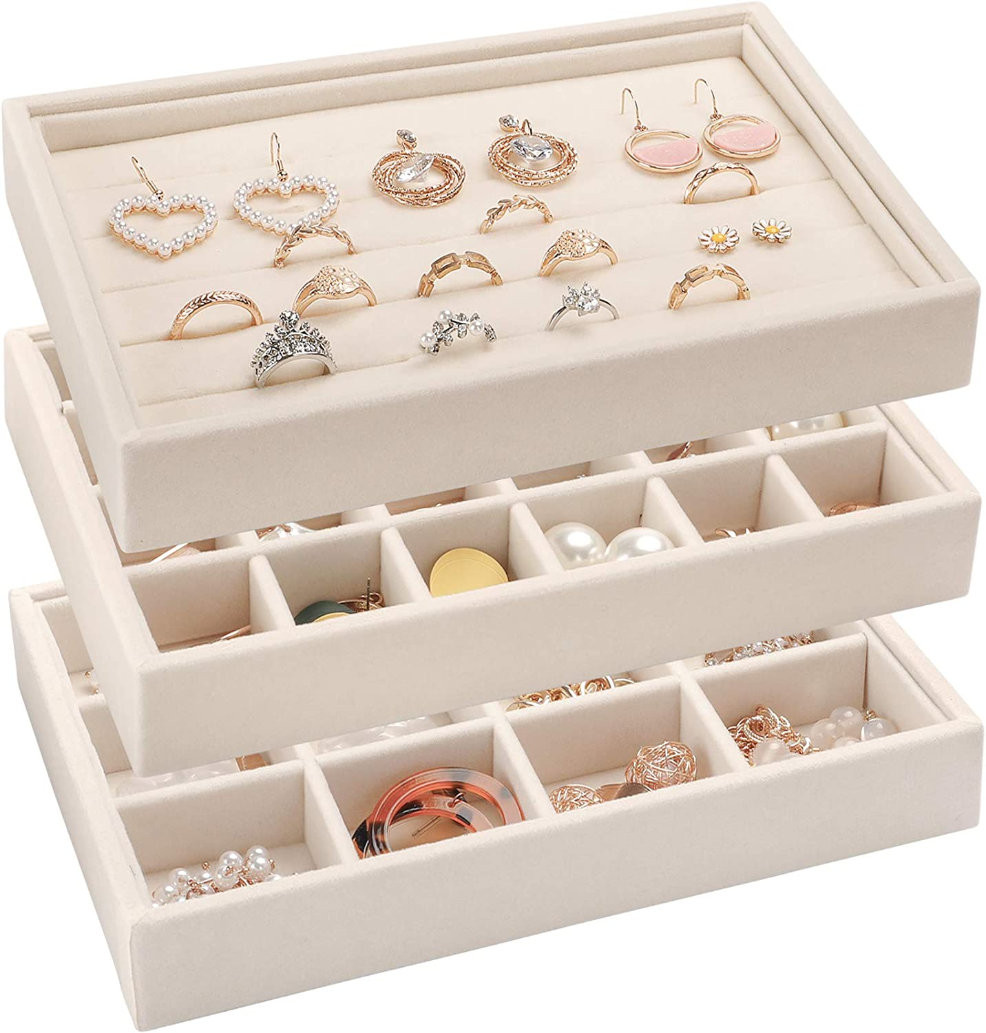 """Mebbay 8.6"""" Small Velvet Stackable Jewelry Tray Organizer Display for Drawer, Stud Earring Necklace Bracelet Ring Storage Tray, Set of 3 (White) : Clothing, Shoes & Jewelry"""