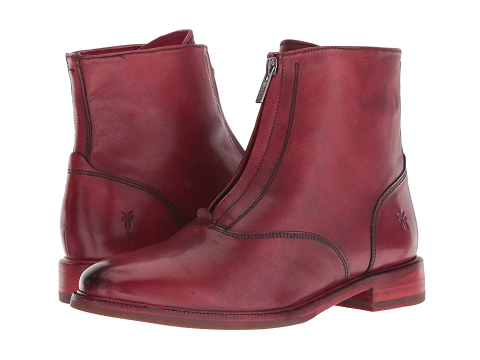 Frye Kelly Front Zip Bootie (Red Dip-Dyed Leather) Women