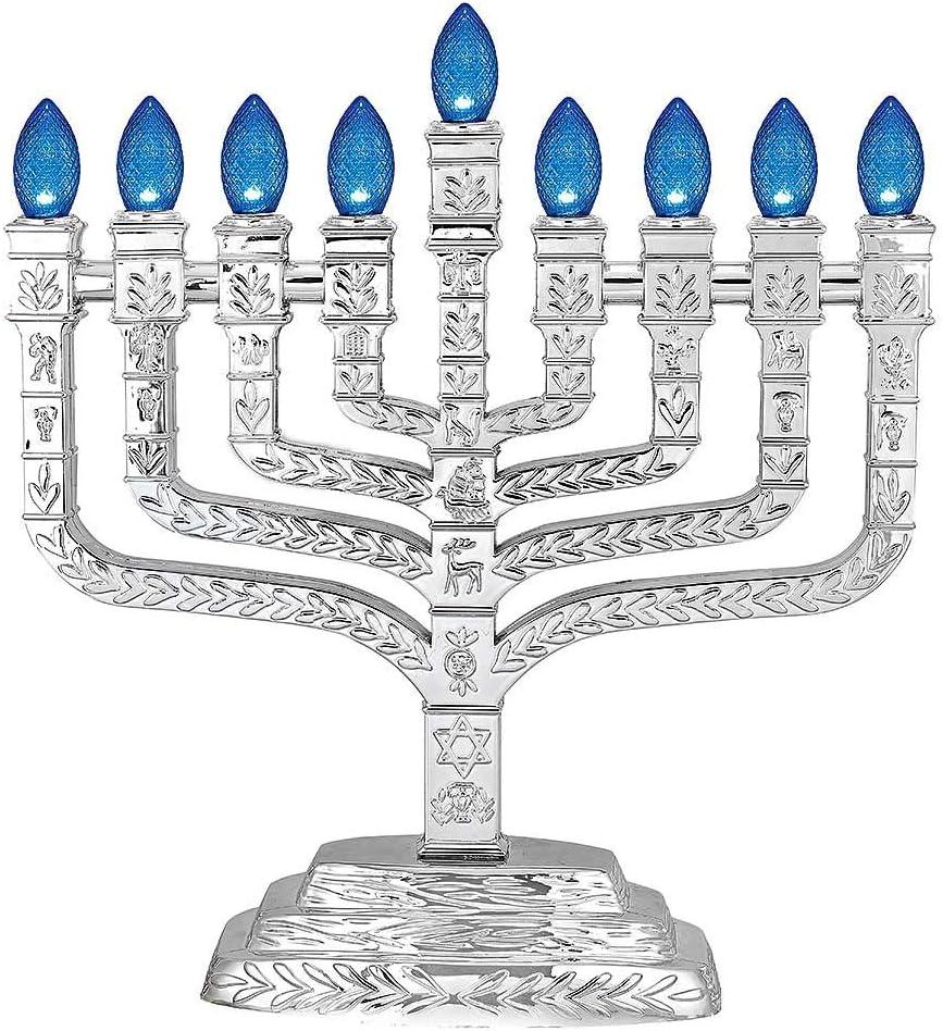 Metallic Silver unisex Credence L.E.D. Electric Hanukkah Knesset Menorah Style -