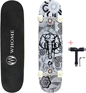 """WHOME Pro Skateboard Complete for Adult Youth Kid and Beginner - 31"""" Double Kick Concave Street Skateboard 8 Layer Alpine ..."""