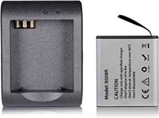 MUSON(ムソン)アクションカメラ バッテリー 1200mAh充電式 USB充電器 MUSON/Campark/AKASO/APEMAN/DBPOWER/Victureアクションカメラなどに適用 スポーツカメラバッテリーキット バッテリーチャージャー 電池 LEDライト付き バッテリー用 5V/1AUSB充電器 スポーツカメラバッテリーキット 水中カメラバッテリーキット (BK)