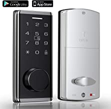 (2nd Gen) Smart Lock, Bluetooth Enabled Electronic Deadbolt Door Lock, Keyless Entry Door Lock Featuring Auto-Locking, Smart Door Lock for APP/FOBS/Codes/Keys - Silver