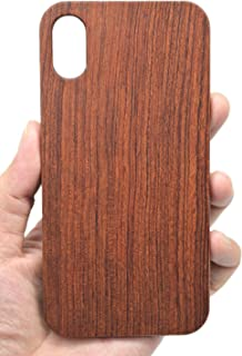VolksRose Compatible iPhone Xs (5.8 inch) Wood Case - Rosewood and PC - Premium Quality Natural Wooden Case for Your Smartphone and Tablet