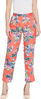 AASK Women's Red and Multicolor Printed Trouser (US_1272)