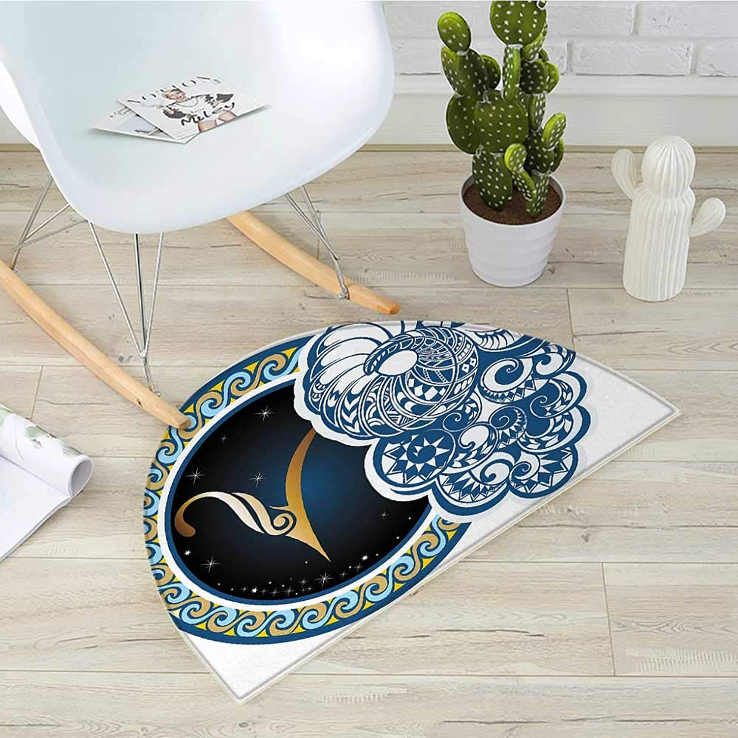 Zodiac Half Round Door mats Astrological Aries Symbol with Horned Head Ram Goat Animal Terrestrial Event Image Bathroom Mat H 39.3  xD 59  Multicolor