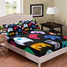 Erosebridal Teens Gamepad Fitted Sheet Modern Gamer Bed Sheet Set Queen Size for Kids Boys Children Video Game Bedding Set...