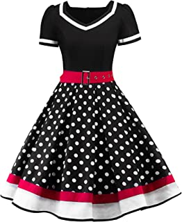 Women's 1950s Vintage Dress Polka Dot Cocktail Swing Dress with Short Sleeves
