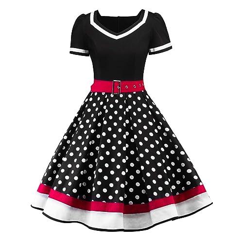 be04b1a9 Nihsatin Women's Audrey Hepburn Vintage Style Rockabilly Swing Dress