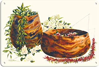 Pacifica Island Art 8in x 12in Vintage Tin Sign - Gift from The Heart - Hawaiian Leis and Koa Wood Bowls by Peggy Chun