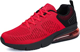 Mishansha Womens Mens Breathable Athletic Running Shoes Air Cushion Walking Gym Non Slip Fashion Sneakers Red