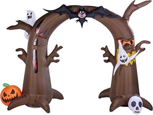 Twinkle Star 8 Ft Tall Halloween Yard Decorations Inflatable Tree Archway with Ghosts Bat Pumpkin and Skeleton, Blow up Lighted Animated Halloween Yard Prop, Giant Lawn Outdoor Indoor Holiday Decor