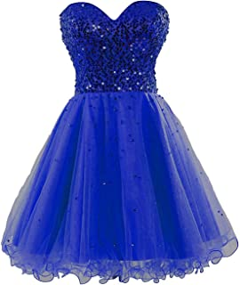 Sarahbridal Women's Tulle Sequin Short Homecoming Dress Prom Gown SD034