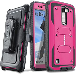 COVRWARE LG K10 / LG Premier LTE - [Aegis Series] with Built-in [ Screen Protector ] Heavy Duty Full-Body Rugged Holster Armor Case [Belt Swivel Clip] [ Kickstand ] - Pink