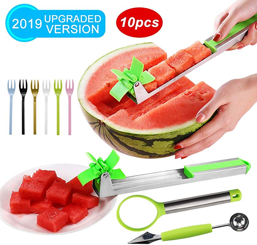 Watermelon Slicer Cutter Stainless Steel Knife Fruit Vegetable Tools Carving And Cutting Tools For Home Professional Restaurant Chefs Ideal For Different Fruits Cutting Pack Of 10