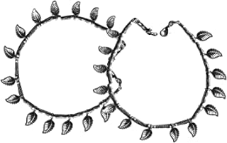 AyA Fashion Silver Oxidised German Silver Anklet for Women