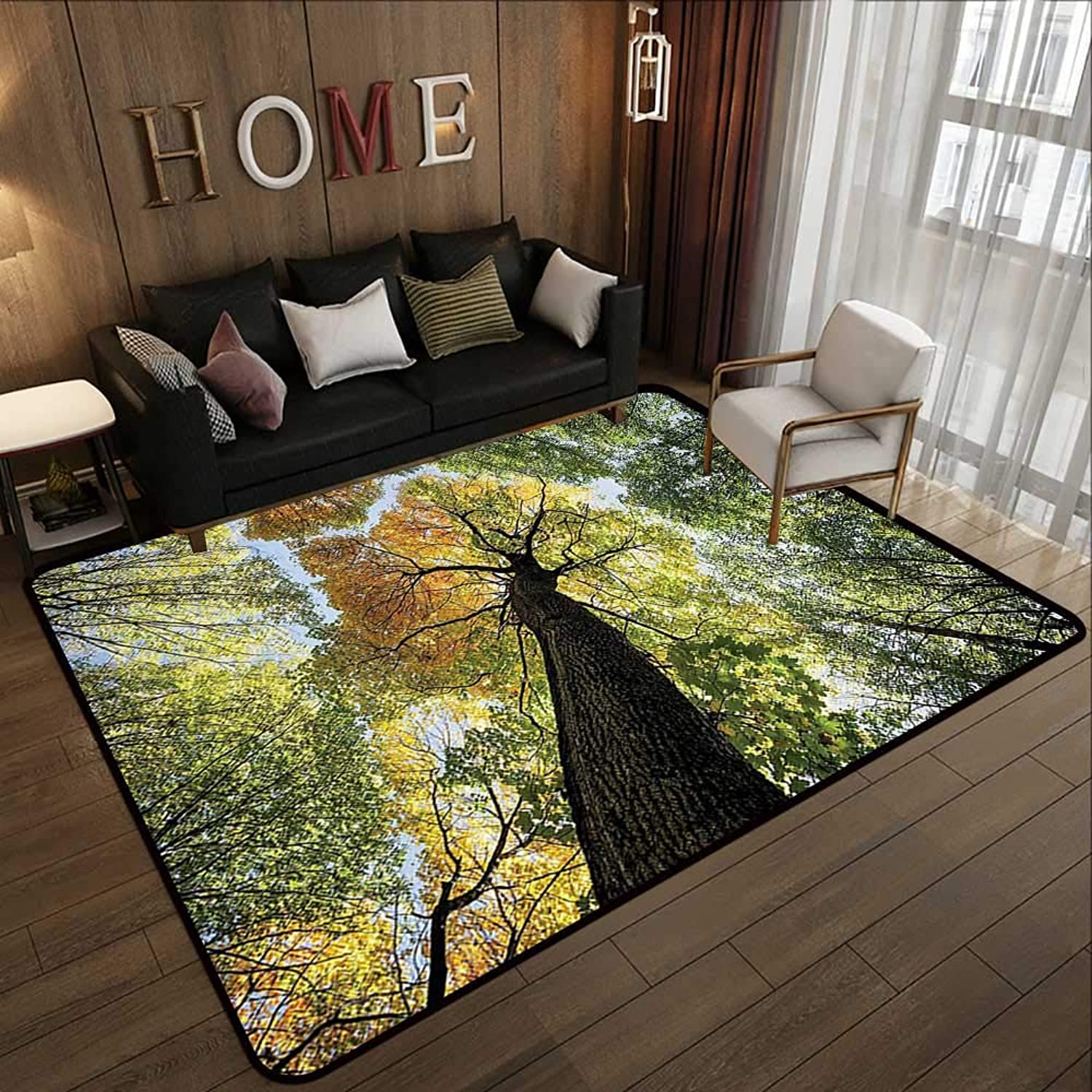 Carpet mat,Tree,Ancient Forest in Autumn Green Nature Deciduous Foliage Growth Eco,Light Green Dark Brown Yellow 35 x 59  Floor Mat Entrance Doormat