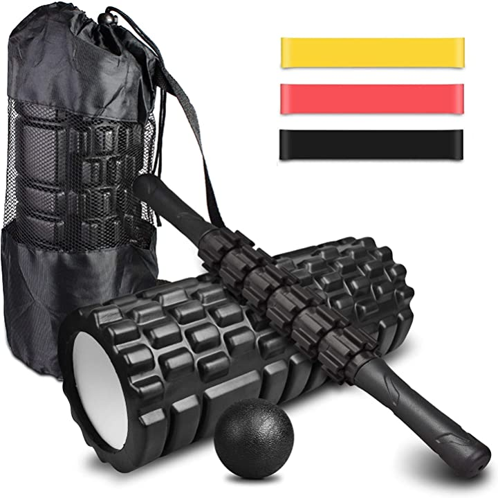 Foam roller kit 4-in-1, rullo in schiuma, rullo massaggio, bande elastici fitness [set di 3], palla fitness co B088FT4T1R