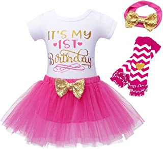 WonderBabe Baby Girls Romper Tulle Tutu Skirt 1st Birthday Short Sleeves Rompers Tops Kids Outfit Clothing Sets