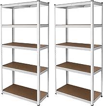 2 x E-rax Stellingkasten - 90x40x180 cm - Wit - 100% Boutloos - Draagkracht: 200 kg per plank - opbergrek metaal