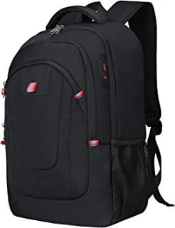 Waterproof Travel Rucksacks Daypack Lock 17inch Laptop Backpack with USB Charging Port Earphone Hole Lightweight School College Daypack for Students/Men/Women