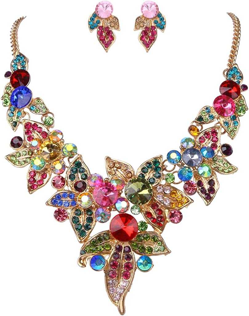 EVER FAITH Austrian Crystal Spring Floral Leaves Plant Cluster Multicolor Jewelry Set