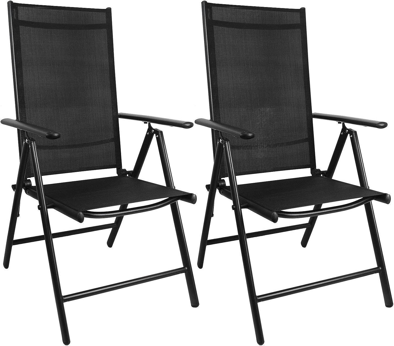 Multistore 2002 2 Stück Aluminium Gartenstuhl mit 2x2 Textilenbespannung, Lehne um 7 Positionen verstellbar, klappbar, Schwarz Hochlehner Klappstuhl