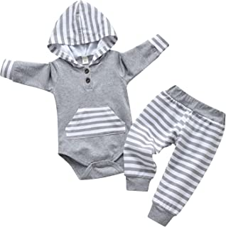 Sponsored Ad - Infant Baby Boys Clothes Long Sleeve Striped Hoodie Pants Outfit Set